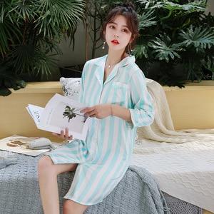 Image 4 - BZEL Mùa Hè Thời Trang Váy Ngủ Cho Nữ Suông Dễ Thương Nữ Homewear Cosy Satin Pyjamas Cổ Bẻ Sọc Feminino Pijamas