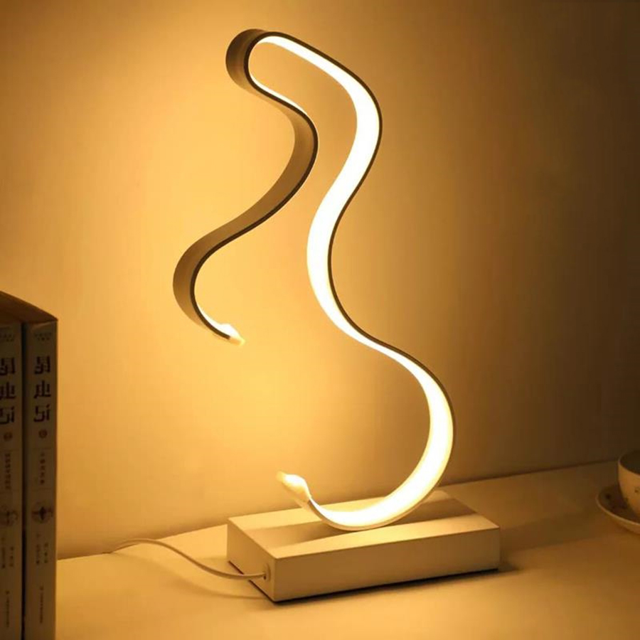 Thrisdar Modern Minimalist Art Line LED Table Lamps Dimmable Bedroom Bedside Reading Desk Table Light Creative LED Table Lamps