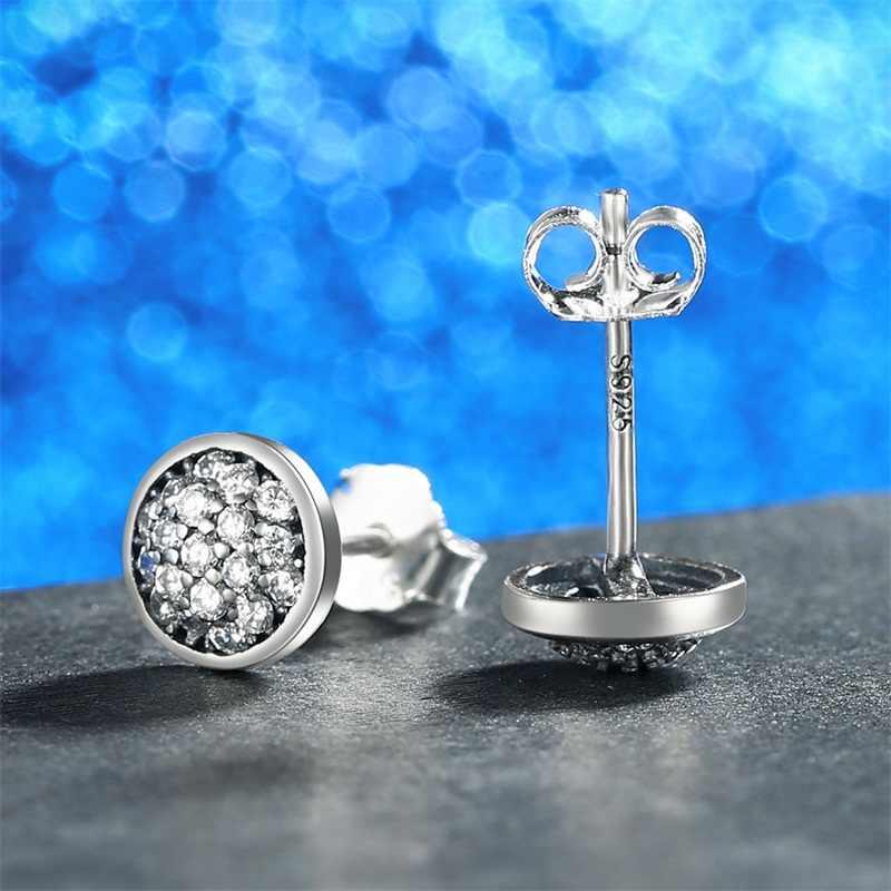 AZIZ BEKKAOUI Authentische 925 Sterling Silber Runde Kristall Stud Ohrringe für Frauen Silber Ohrringe Hochzeit Schmuck Femme Brincos