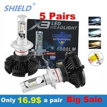 10 париж шт. светодиодный фар автомобиля 50 Вт 12000LM H4 H7 светодиодный фар автомобиля 6500 к 12000LM зэс чип H1 H11 H3 9005 9006 светодиодный противотуманный фонарь Авто