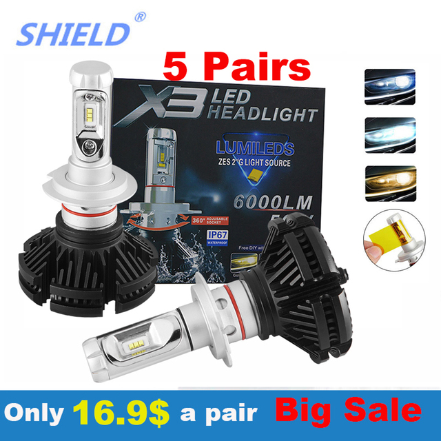 10 Paris pcs Led Car Headlight 50W 12000LM H4 H7 LED Car Headlight 6500K 12000LM ZES Chip H1 H11 H3 9005 9006 LED Fog Lamp Auto