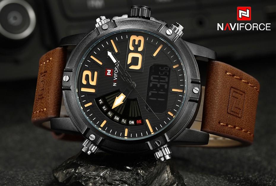 2018 NAVIFORCE Hommes de Mode Sport Montres Hommes Quartz Analogique Date Horloge Homme En Cuir Militaire Montre Étanche Relogio Masculino 4