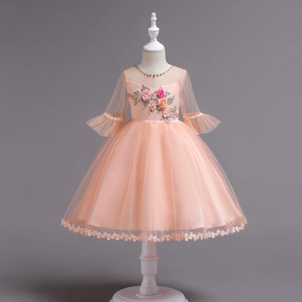 Ball Gown Embroidered Wedding Dress: Princess Girls Ball Gown Dress Lace Floral Embroidered