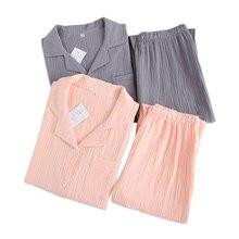 Осенние пижамные комплекты для пар из чистого хлопка, женская одежда для сна, 100% креп хлопок, простая повседневная мужская пижама