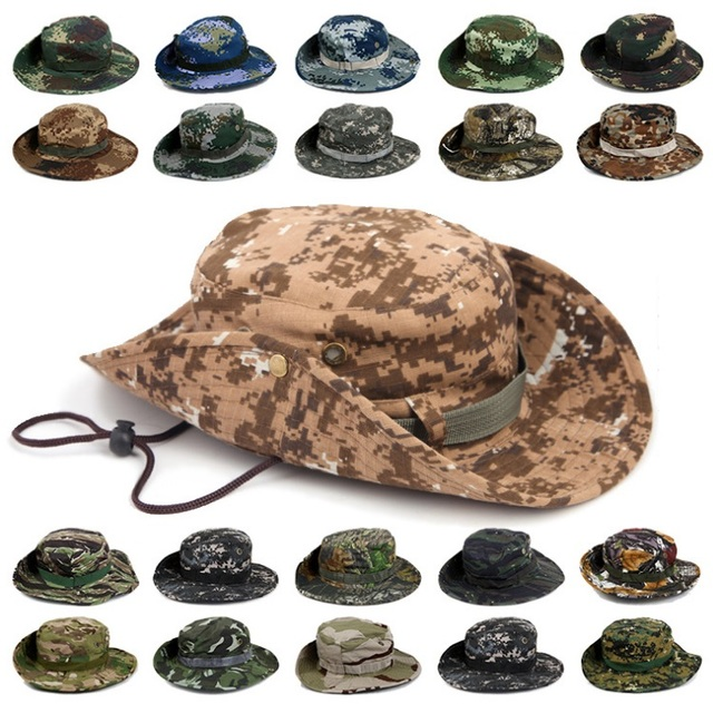 92d09033428 Men Women s Outdoor Wide Brim Sun Hat Side Snap Chin Cord Fishing Hiking Cap  Camouflage Boonie