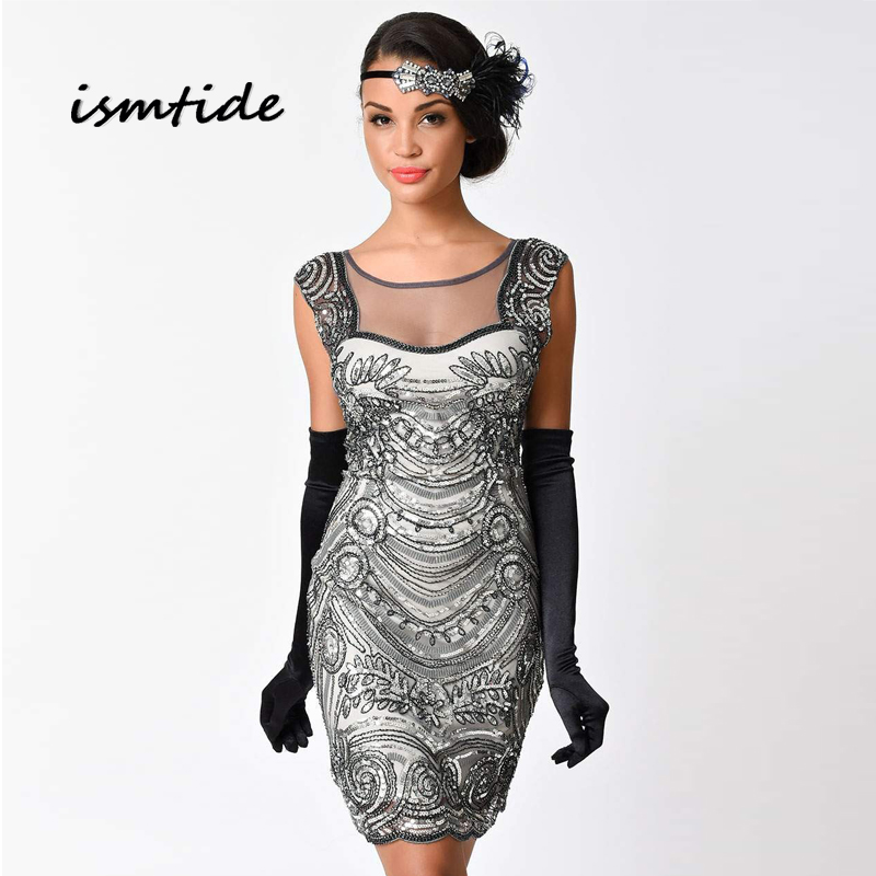 Dress Sequined Embroidery O Neck Art Flapper Sequin Dress