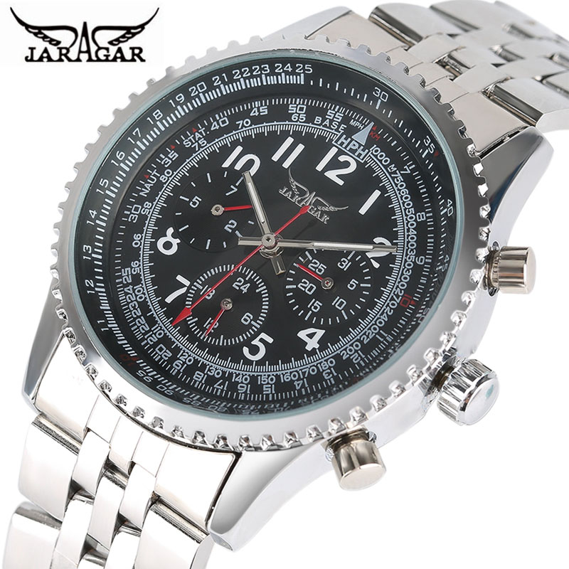 цена на JARAGAR Men's Watch Brand Luxury Silver Watch Men Automatic Self-wind Stainless Steel Mechanical Wrist Watches Reloj Hombre 2018
