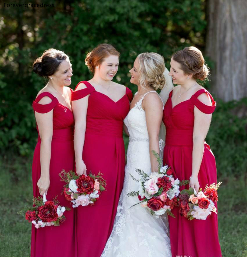 Cheap Off Shoulder   Bridesmaid     Dresses   2019 A Line Summer Beach Country Garden Wedding Party Guest Maid of Honor Gowns Plus Size