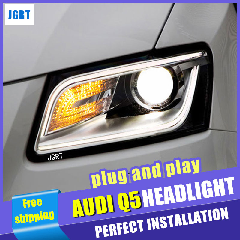 Car Styling  Headlight assembly 2009-2016  for AUDI Q5 DoubleU Angel Eye LED DRL Lens Double Beam H7 hid kit with 2pcs. gztophid car styling retrofit 2 5 h1 hid wst bixenon projector lens h4 h7 with ccfl angel eyes for car headlight