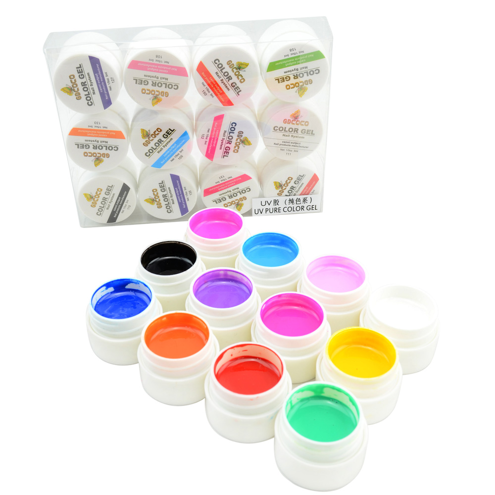 #20200 free shipping GDCOCO nail art 12 color pure color uv gel kit, uv color paint gel kit