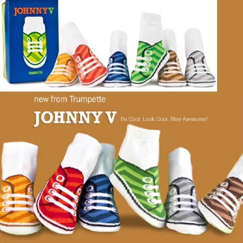 6Pairs Children Zokni Baby Boys cipő csúszásmentes padló cipő - Bébi ruházat - Fénykép 4