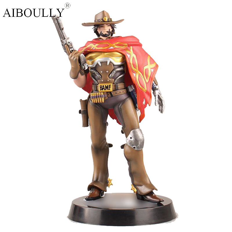 OW Tracer Jesse Mccree West cowboy Action Figure Model kids Toys Gifts Collection Tracer PVC 30CM