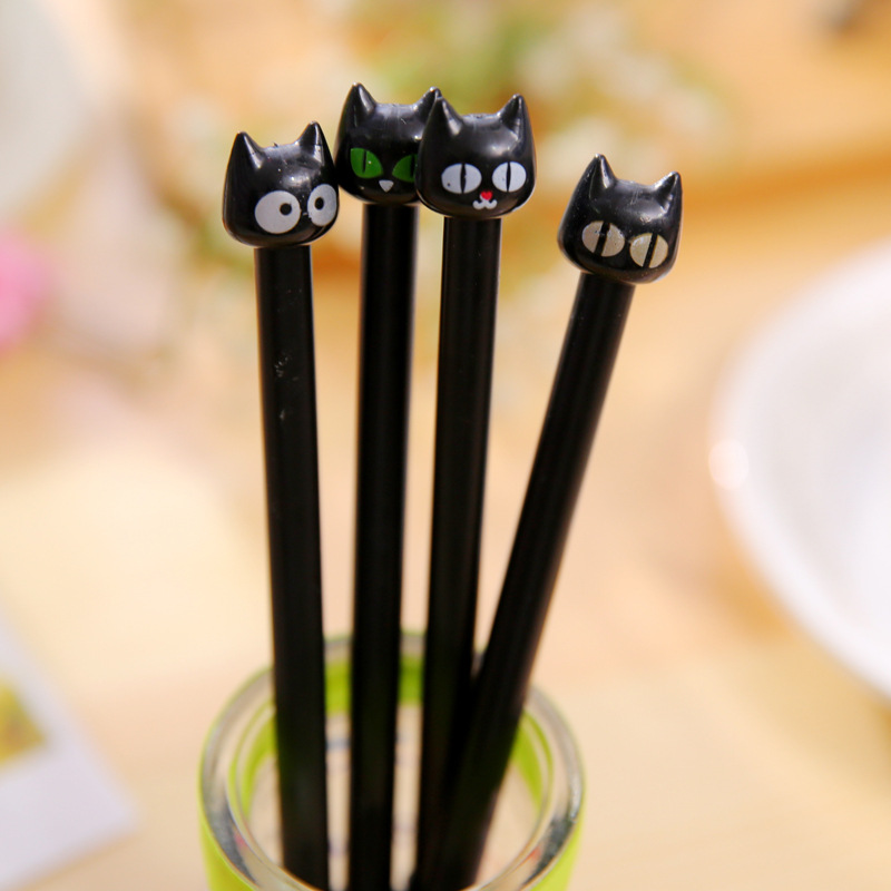 4 pcs/lot Cute Cartoon Kawaii Plastic Black Cat Gel pen for Kids Student Children Korean Stationery Free shipping 549