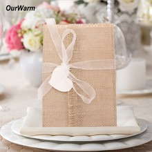 OurWarm 10pcs Rustic Chic Wedding Invitations Vintage Burlap Invitation Cards with Envelopes Baby Shower Party Favor