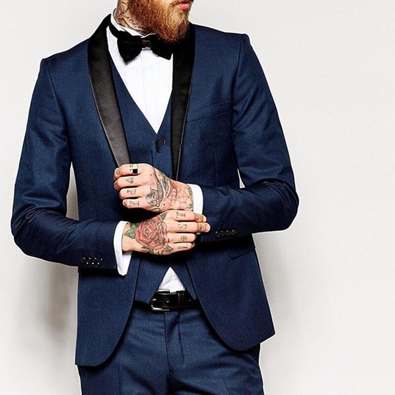 Vent latéral Slim Fit marié Tuxedos col châle hommes costume 2017 bleu marine Groomsman/marié costumes de mariage (veste + pantalon + cravate + gilet)-in Costumes from Vêtements homme    1