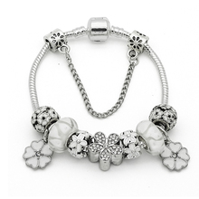 European Cherry Blossoms Charm Bracelet for Women Luxury Brand Crystal Beads Snake Chain Bracelets Silver Natural Bracelet