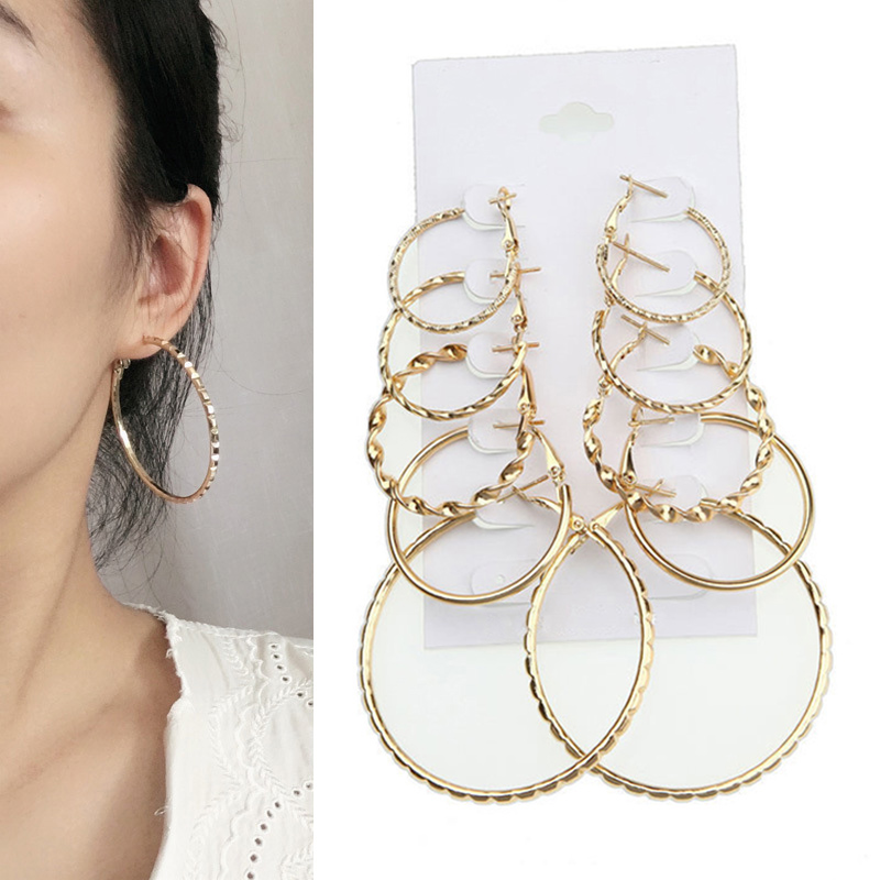 5Pairs/Set Vintage Dangle Earrings Gold Small Big Circle Hoop Earrings for Women Punk Round Earring Set circle