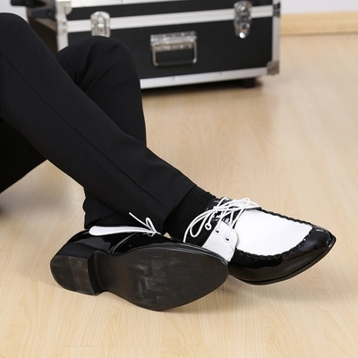 Free ship mens tuxedo shoes black and white fashion shoes/event/ stage performance shoes/photo-shooting shoes