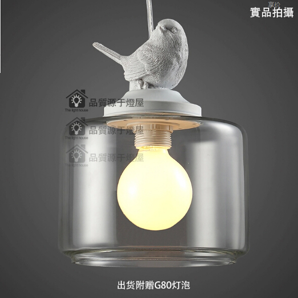 pendant lighting glass G80 Bulb American Retro European cord pendant lamp Bedroom Restaurant Birds vintage pendant lights