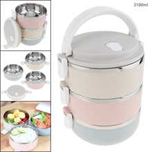2.1L Portable Hand-held Removable 3 Colors High-capacity 201 Stainless Steel + PP Three Layer Insulation Barrel Lunch Box