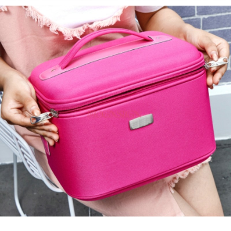 Professional Cosmetic Bag Capacity Portable Travel Large Storage Cute Waterproof Lock Cosmetics Case Makeup Pack Make Up Bags makeup pack cosmetics case professional storage large box partition portable 3 layer beauty tattoo kit cosmetic bag make up