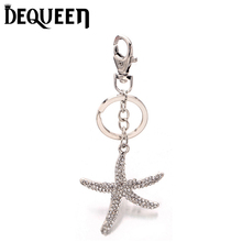 Dequeen Key Chain Crystal Starfish Keychain Jewelry Handmade Art Metal Pendant Keyring Key Ring for Women Gifts