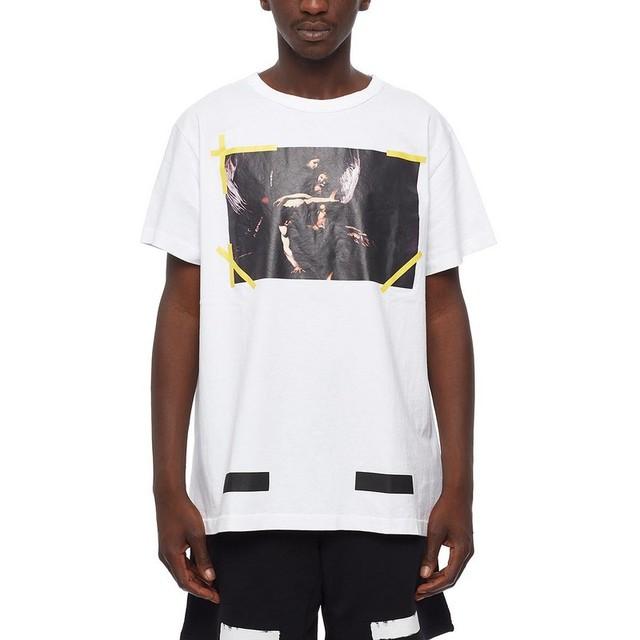 Classic Justin Bieber Off White C/O 13 Camisetas de Los Hombres de Las Mujeres Algodón de alta Calidad 1:1 Versión Hip Hop Religiosa Off White camisetas de la camiseta