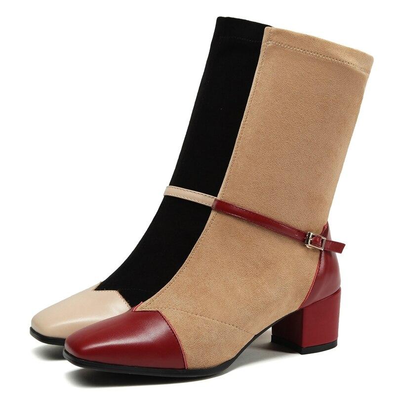 Las Beige Del Cuadrado Invierno Ly251 A 40 Mujer Tamaño Mediados Red Zapatos Mujeres 2018 Dedo on Pie Botas De Slip De becerro 34 Básicos Anmairon Moda wine 8Sqpfx