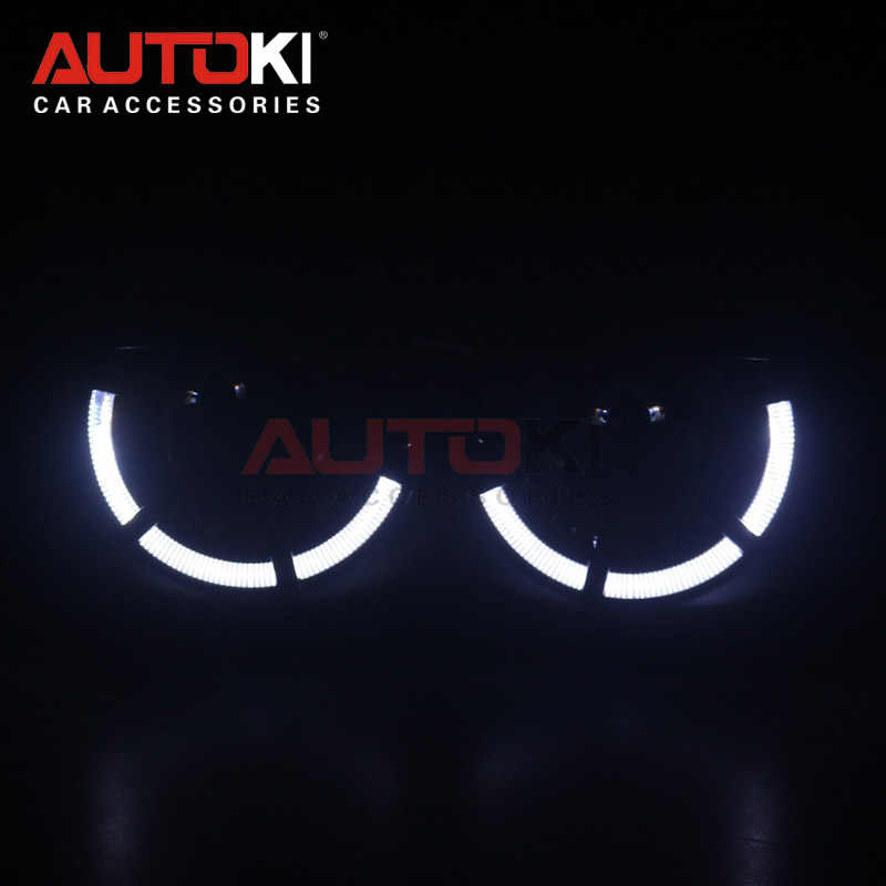 AUTOKI 2018 New LED angel eyes Polo Sport + metal Super H1 3.0 polegada Bi-xenon Projetores lente do farol para H4 H7 9005 9006