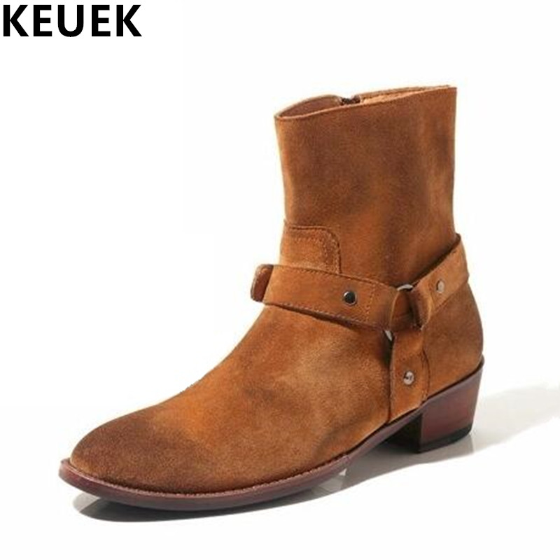 British style Men Ankle boots Genuine leather Vintage boots Autumn Male shoes Motorcycle boots 022 serene handmade winter warm socks boots fashion british style leather retro tooling ankle men shoes size38 44 snow male footwear