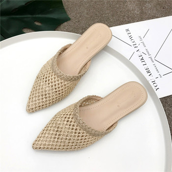 Women's Pointed Low Heel Slippers NIUFUNI Summer Cane Woven Rattan Grass Sandals Beach Shoes Women's Slippers Flat Shoes Slides 1