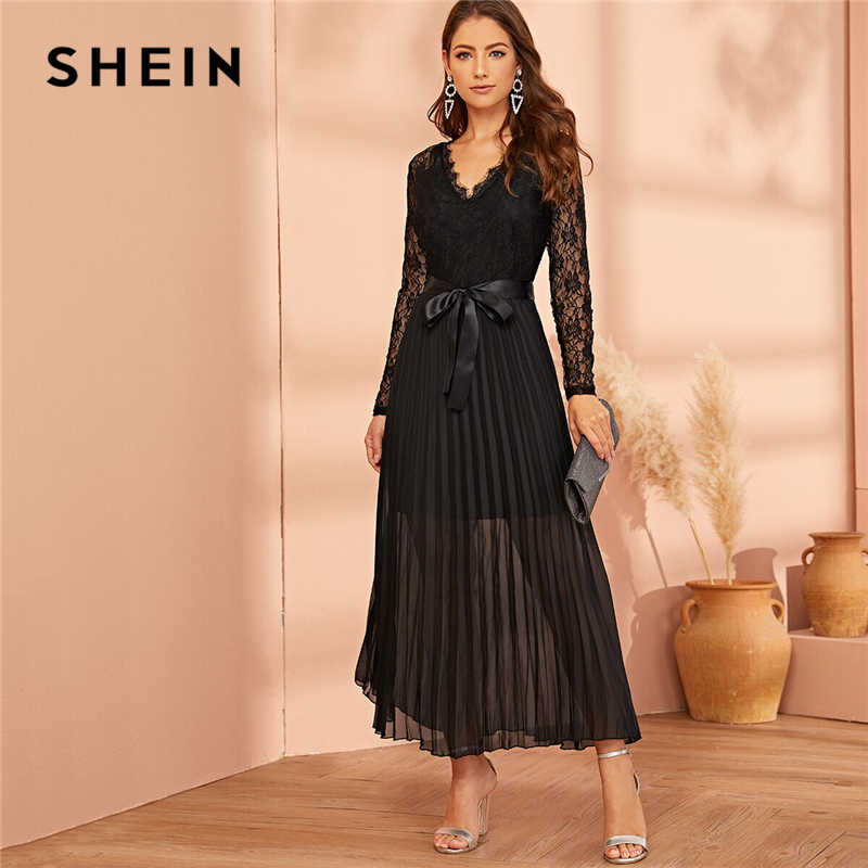 SHEIN Black Lace Panel Plisse Hem Belted Pleated Sheer Dress Women Autumn V-neck Fit and Flare High Waist Party Long Dresses