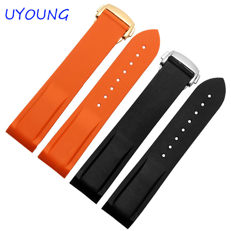 20mm22mm new men's black diver bent end silicone rubber watch straps and deployment buckle