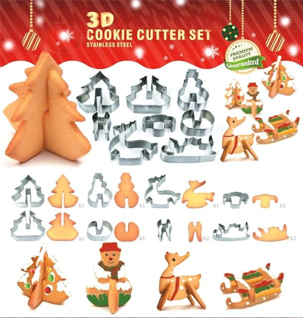 Biscotti Albero Di Natale 3d.Us 12 1 3d Cookie Cutter In Acciaio Inox Pupazzo Di Neve Albero Di Natale Renna Sleigh Festival Fai Da Te Attrezzi Del Biscotto Biscotto Cottura