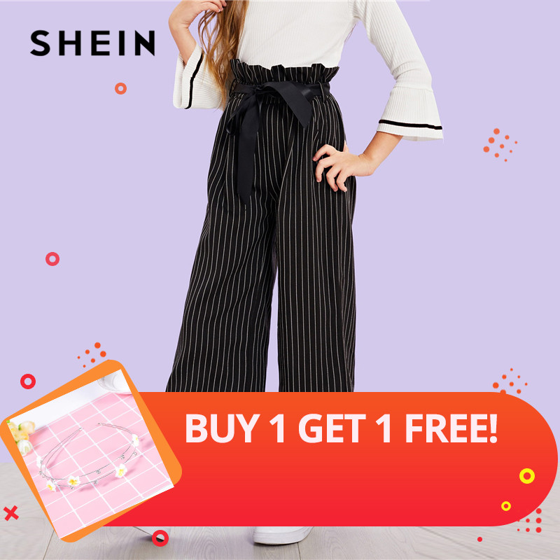 SHEIN Black Girls Vertical Striped Belted Casual Pants Girls Leggings 2019 Spring Fashion Wide Leg Pants Korean Kids Clothes girls contrast tape pants
