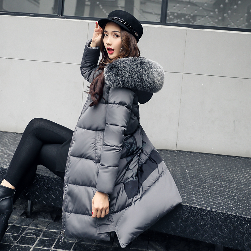 цены на 2017 winter wadded jacket female medium-long thickening large fur collar cotton-padded coat slim down cotton-padded в интернет-магазинах