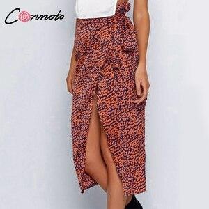 Image 2 - Conmoto ラップ弓サテン女性スプリットセクシーなヒョウ柄ハイウエストスカート高ファッション冬 Feminino スカート