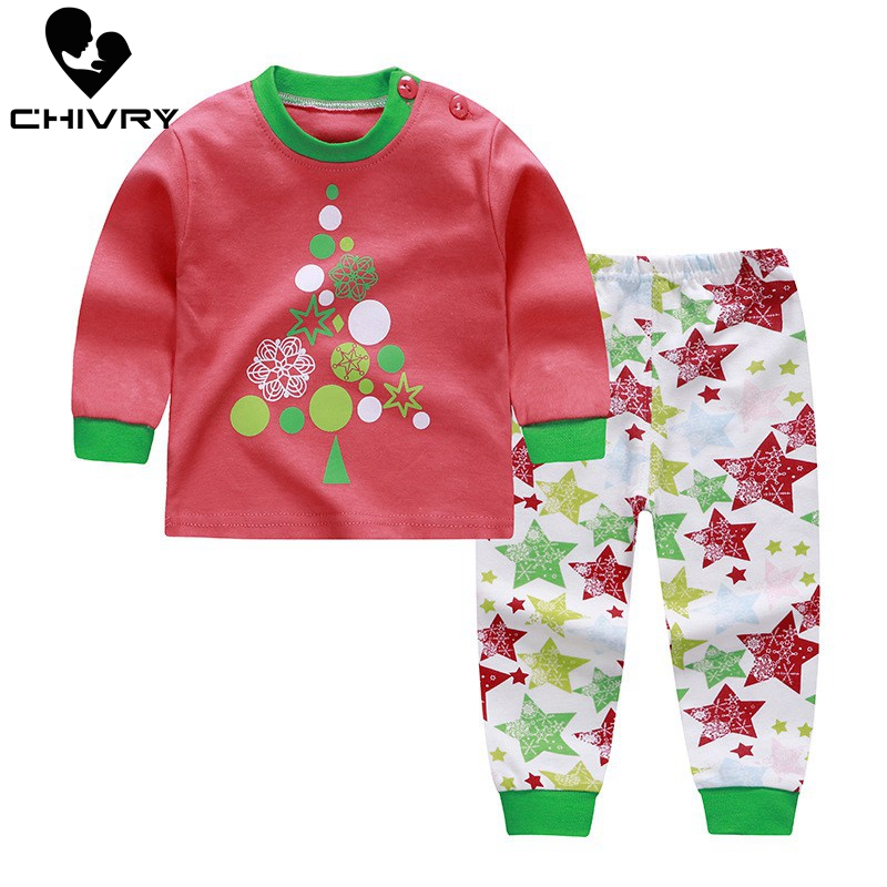 Chivry 100% Cotton Kids Boys Pajama Sets Cartoon Print Long Sleeve O-Neck Cute T-Shirt Tops with Pants Baby Girls Child Clothes