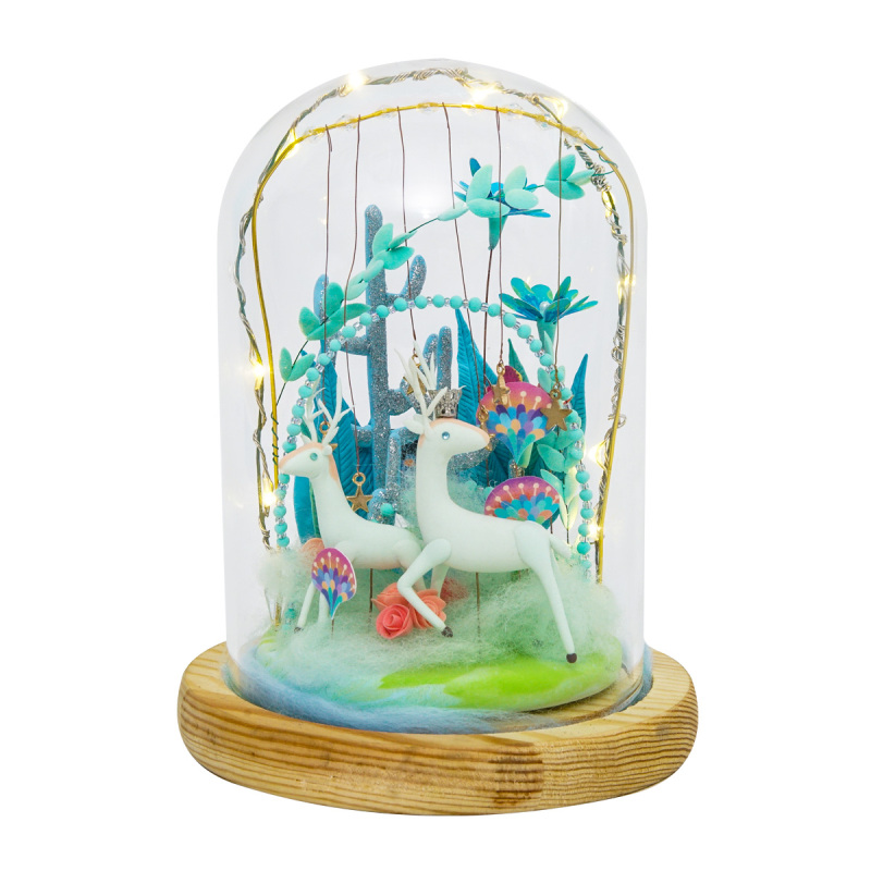 DIY Magic Clay Model Slime Ultra-Light Sculpture Plasticine Fimo Doll Arts Craft Kits With LED Glass Dust Cover Handmade Toys