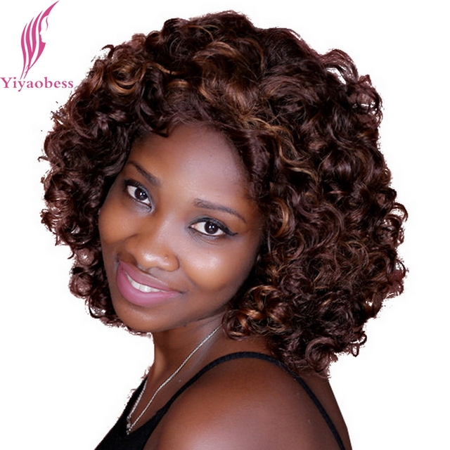 Yiyaobess 14inch Mix Dark Brown Hair Highlights Curly Short Wigs For