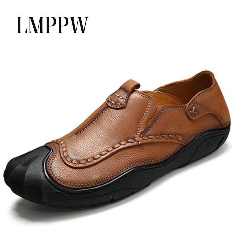 Luxury Brand Men Shoes Soft Cowhide Leather Casual Shoes Breathable Loafers High Quality Handmade Boat Driving Shoes Brown Khaki genuine leather men casual shoes summer loafers breathable soft driving men s handmade chaussure homme net surface party loafers