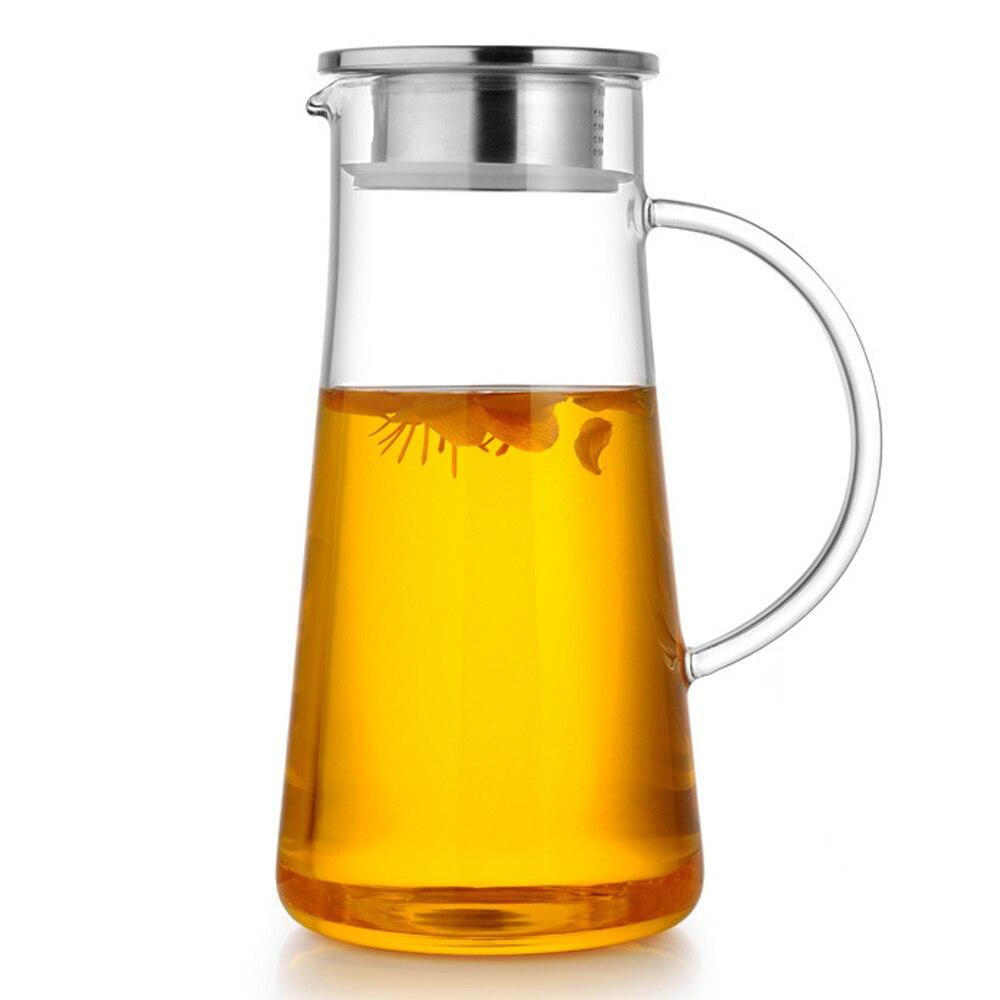 Pindefang 1600 мл большой прохладной водой бутылки термостойкие Стекло Сок чайник фильтрации крышкой здоровья жизни дома украшения Чай комплект
