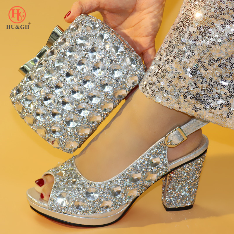 New Silver Color Fashion Italian Shoes With Matching Clutch Bag Hot African Big Wedding With High Heel Sandals And Bag Set Party