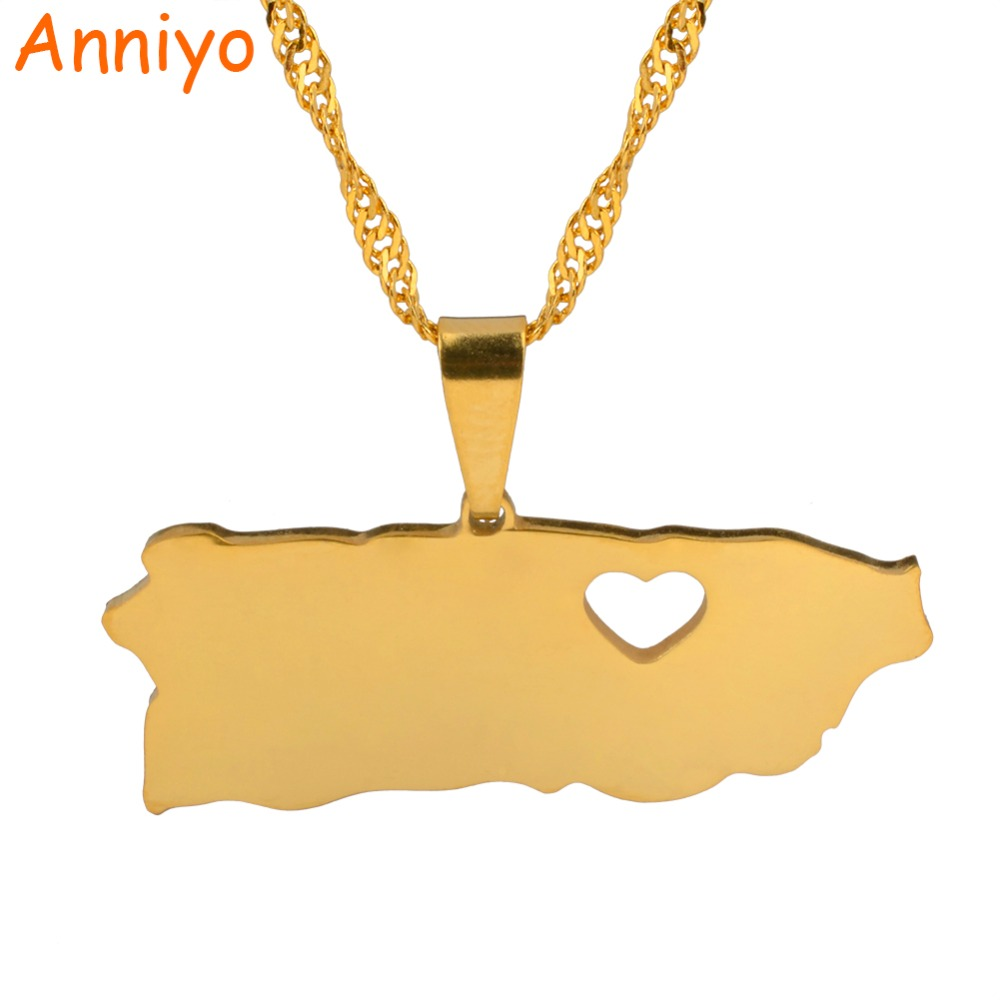 Anniyo Puerto Rico With Heart Map Pendant Necklaces Gold Color PR Puerto Ricans Jewelry Gifts #025221