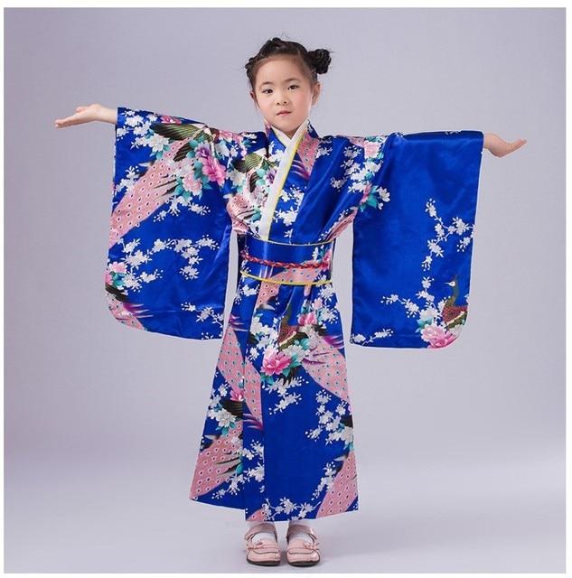 Мода синий японский девочка платья кимоно традиция малыш юката Kid девушка танцевальные костюмы косплей платье цветочные