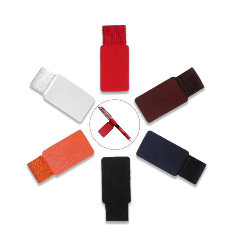 1 Pcs Creative Self Adhesive Rectangle Leather Pen Holder Pencil Elastic Loop For Notebooks Journals Clipboards Pen Clips