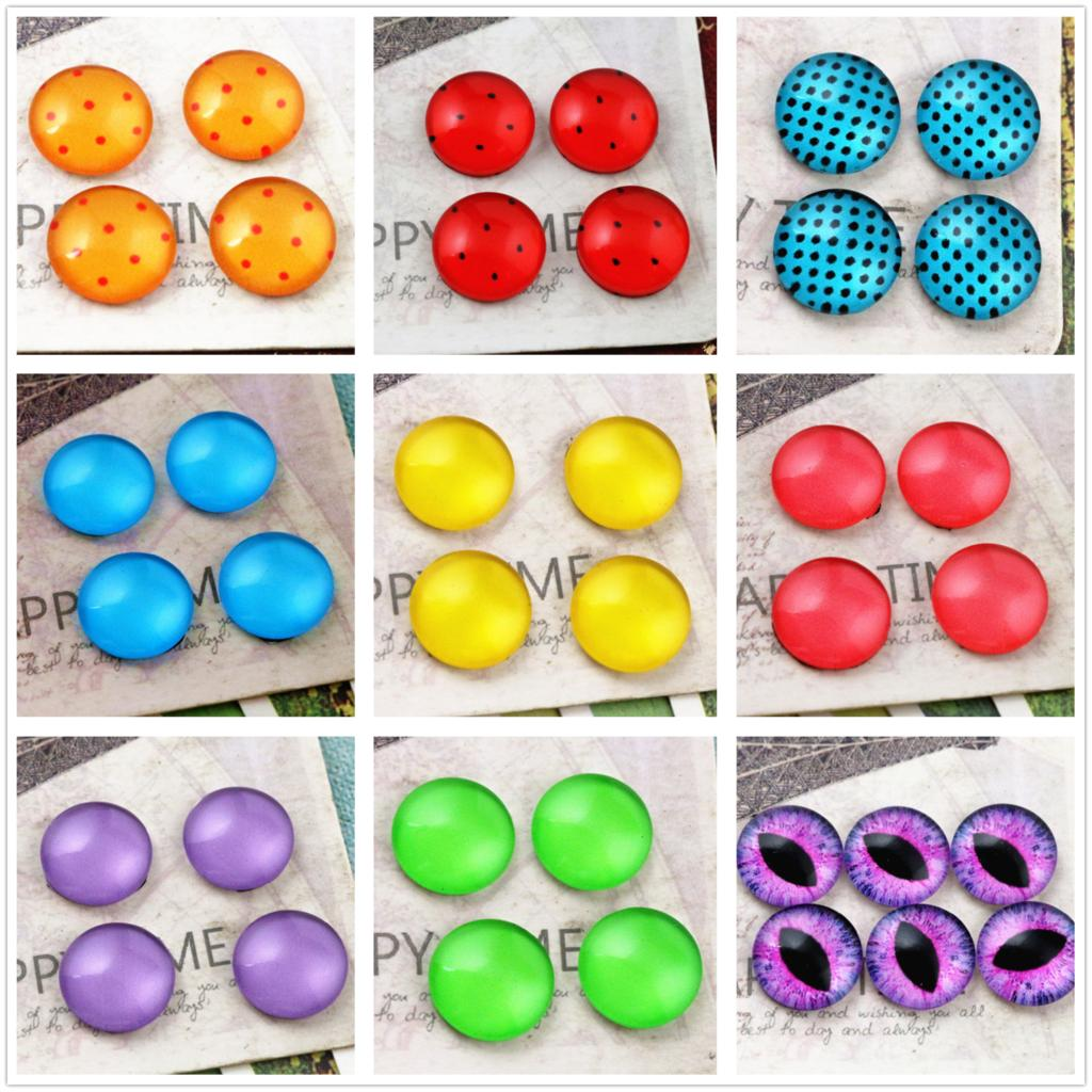 New Fashion 20pcs/Lot 12mm Eye color series Handmade Glass Cabochons Pattern Domed Jewelry Accessories Supplie