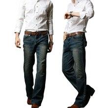 2018 Mens Flared Jeans Boot Cut Leg Flared Elastic Slim Fit Mid Waist Male Designer Classic Denim Jeans Pants Bell Bottom Jeans