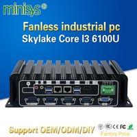 Minisys Fanless Embedded Industrial Pc Intel Skylake Core I3 6100u Dual Nic Mini Itx Computer Support