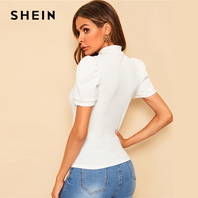 SHEIN Office Lady White Mock-neck Puff Sleeve Solid Top T Shirt Summer Solid Basic Short Puff Sleeve Elegant Tshirt Ladies Tops 1